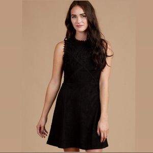 Altair's State sleeveless black suede lace dress
